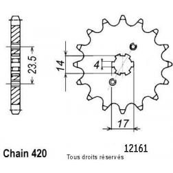 Pignon 50 à boite 12161CZ13 pour DERBI 06-