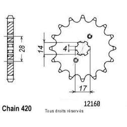 Pignon 50 à boite 12160CZ14 pour DERBI 50 00-05