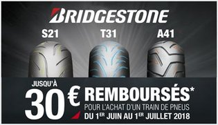 Offre Bridgestone S21 - T31 - A41 - jusqu'à 30euros remboursés