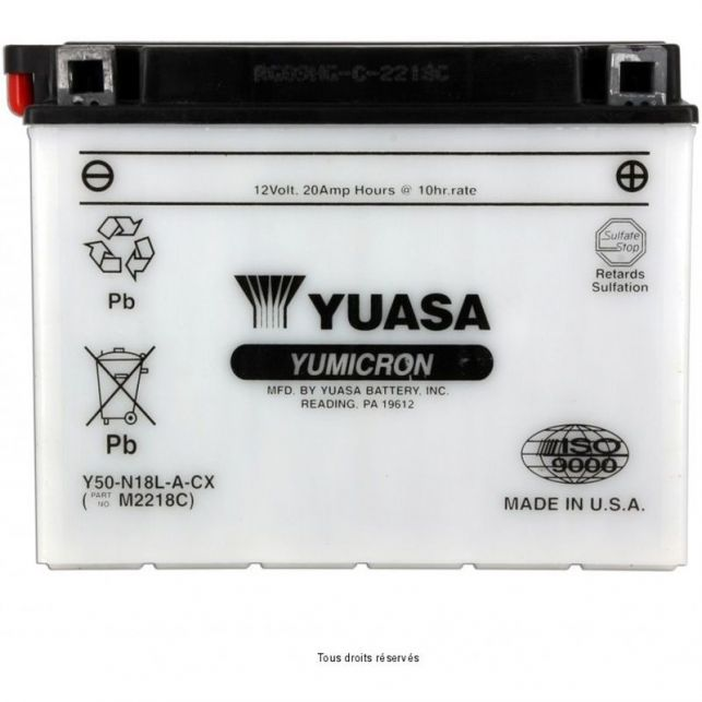 Batterie YUASA Y50-N18L-A avec entretien