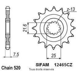 Pignon quad 12465CZ14 pour KAWASAKI 450 KFX 08-