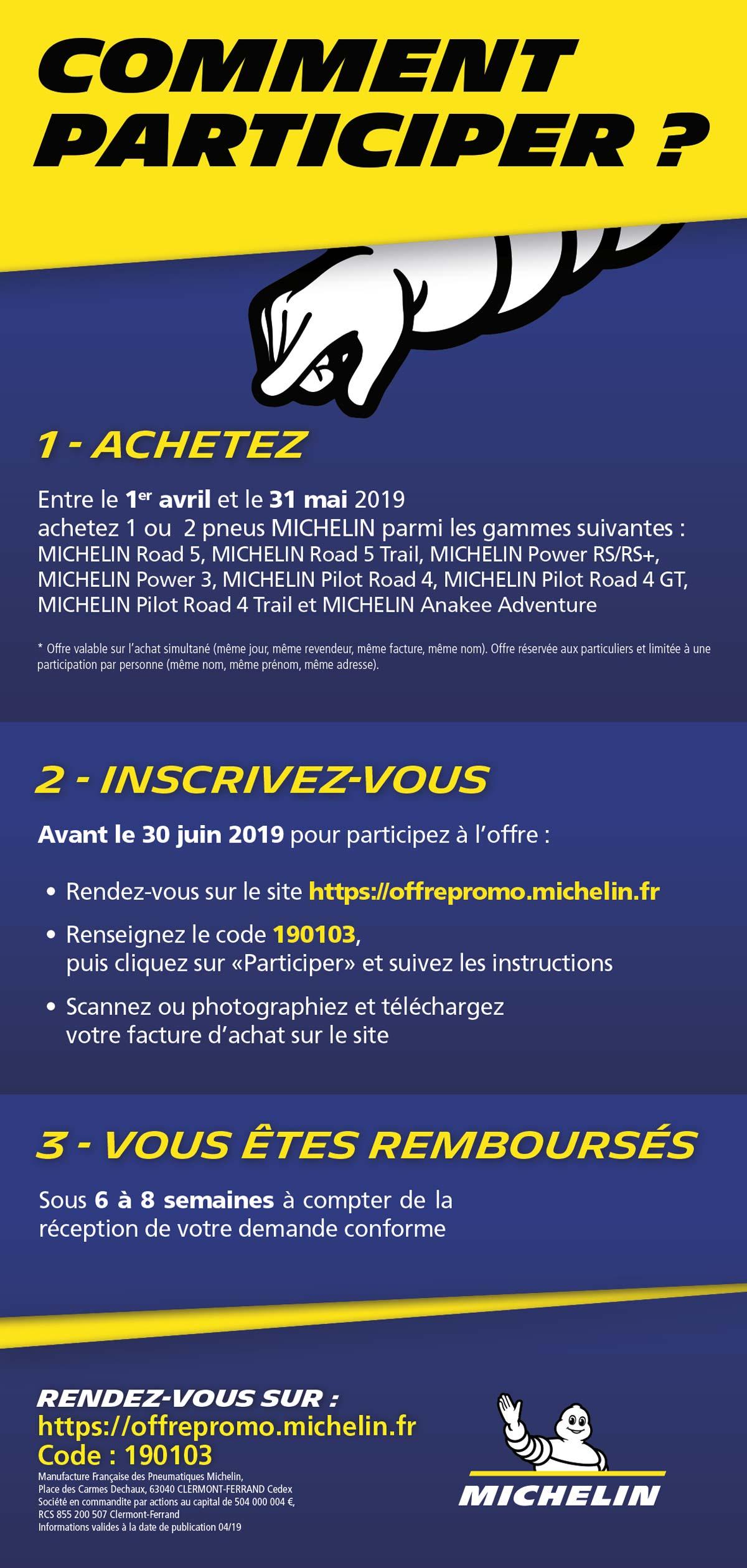 reglement opération MICHELIN Mai 2019 - Vous rembourse 10 ou 30 euros