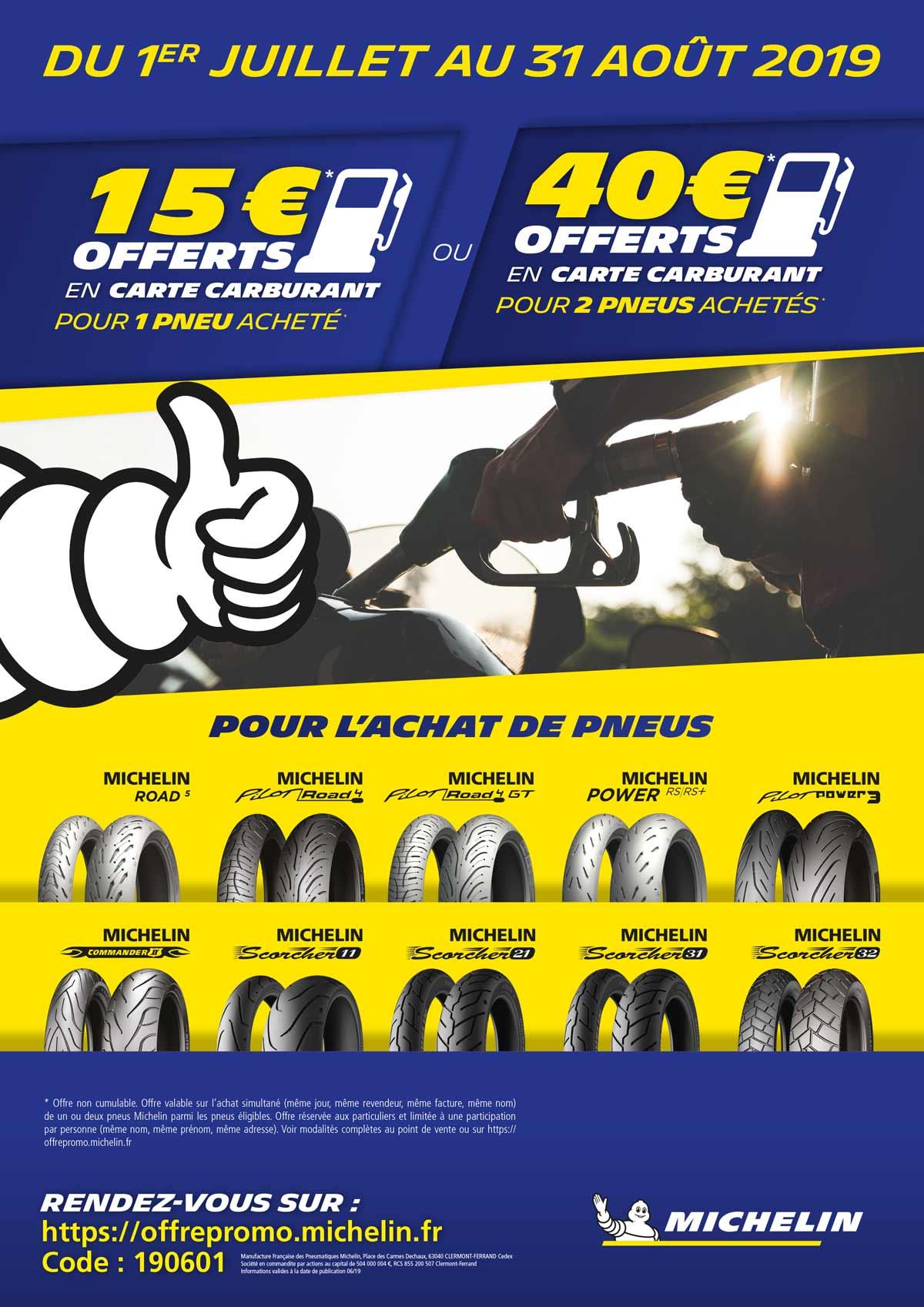 Accédez à l'offre Michelin en entrant le code promo : 190601