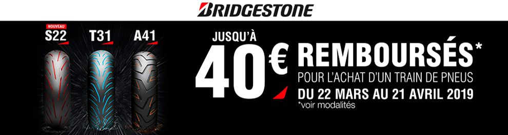 OPE Bridgestone - mars-avril 2019 - Jusqu'à 40 euros rembourses pour l'achat d'un train de pneus s22 - T31 ou A41