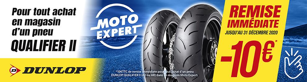 OPERATION DUNLOP QUALIFIER II - 10€ REMISE IMMEDIATE dans votre magasin Moto Expert